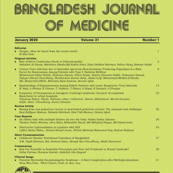 Bangladesh Journal of Medicine Volume-30, Noumber-1, January 2019