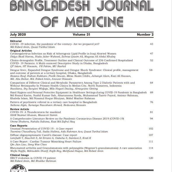 Bangladesh Journal of Medicine Volume-31, Noumber-2, July 2020